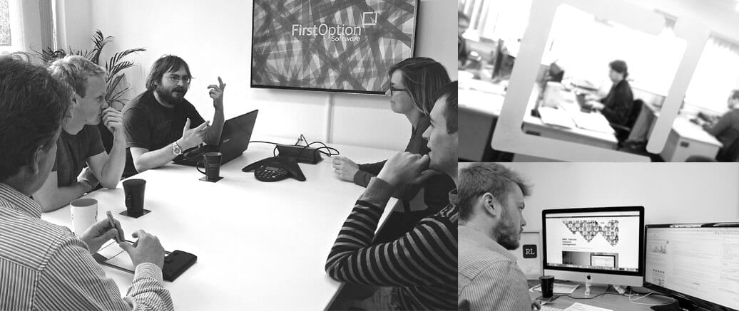 First Option Software Team Meeting black and white